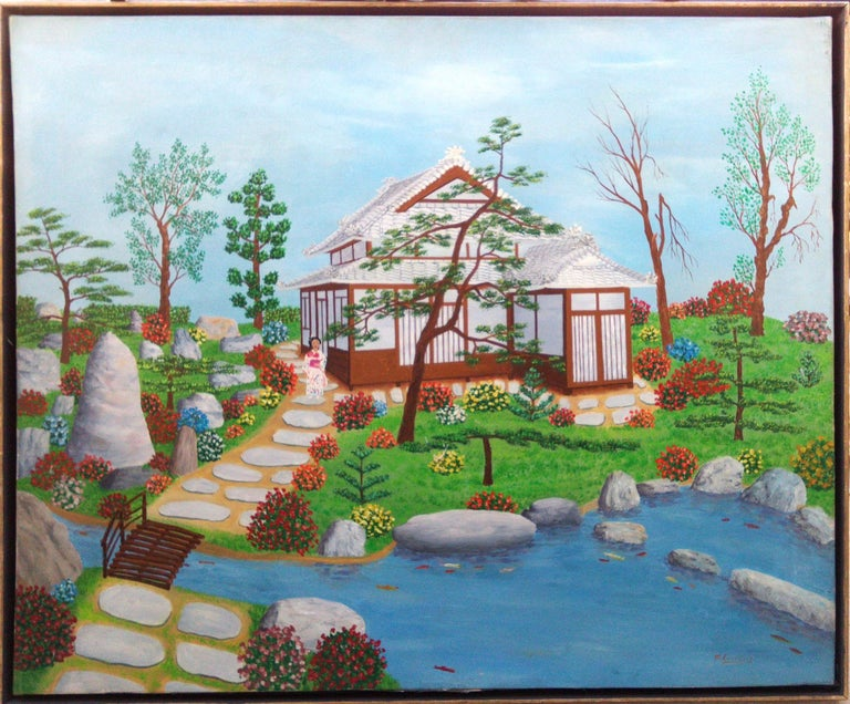 Japan Japanese Garden by French naive outsider folk art primitive artist, 1975 - Painting by Maurice Loirand
