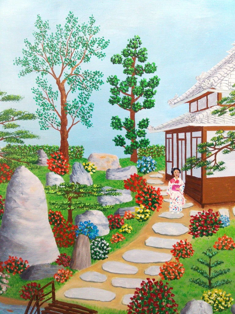 Japan Japanese Garden by French naive outsider folk art primitive artist, 1975 - Outsider Art Painting by Maurice Loirand