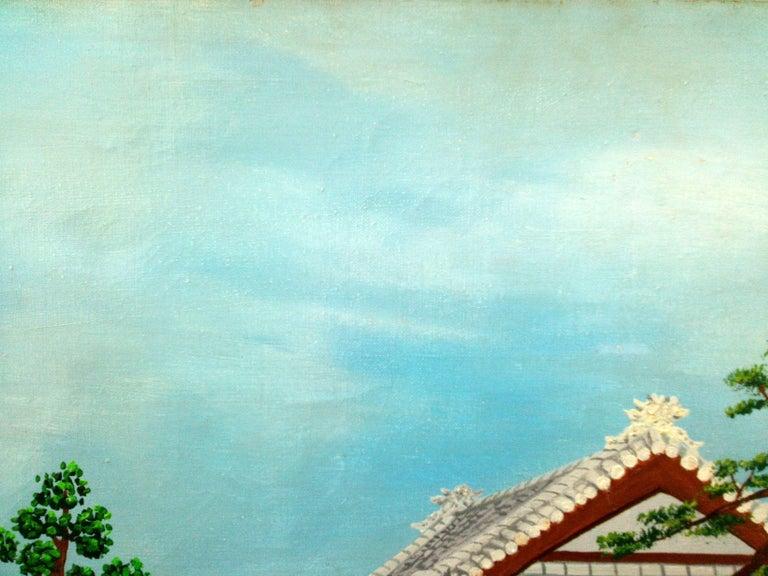 Japan Japanese Garden by French naive outsider folk art primitive artist, 1975 For Sale 1