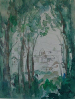 French Impressionist landscape watercolor