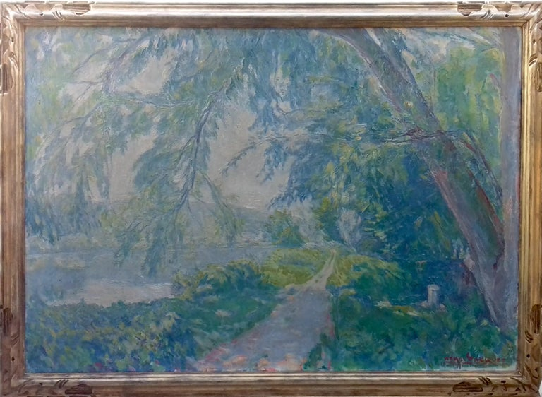 Normandy, the Seine at Giverny French Impressionist Landscape by Henri Pacquet For Sale 1