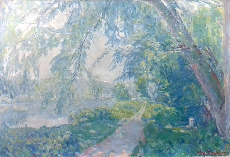 Normandy, the Seine at Giverny French Impressionist Landscape by Henri Pacquet For Sale 3