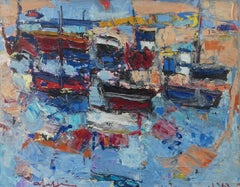 Colourful Boats Abstract Impressionist French Modernist Marine Water Landscape