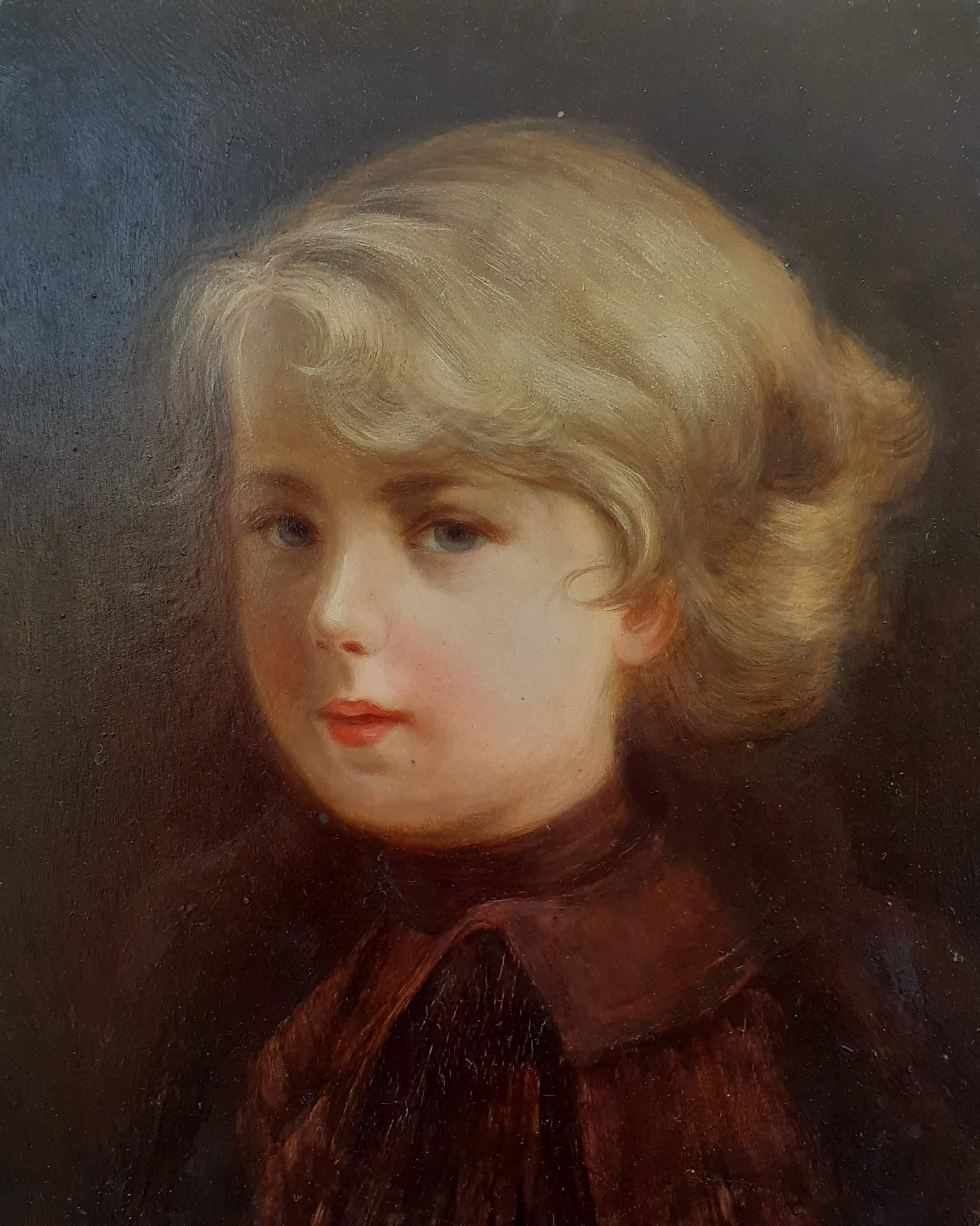 Presumed portrait of Napoleon II L'Aiglon as a boy, early antique oil painting