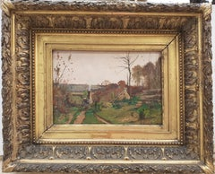 Barbizon Landscape French 19th Century oil Painting by Corot's last student