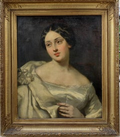 The Ivory Gown, Young aristocratic young lady French romanticist woman portrait