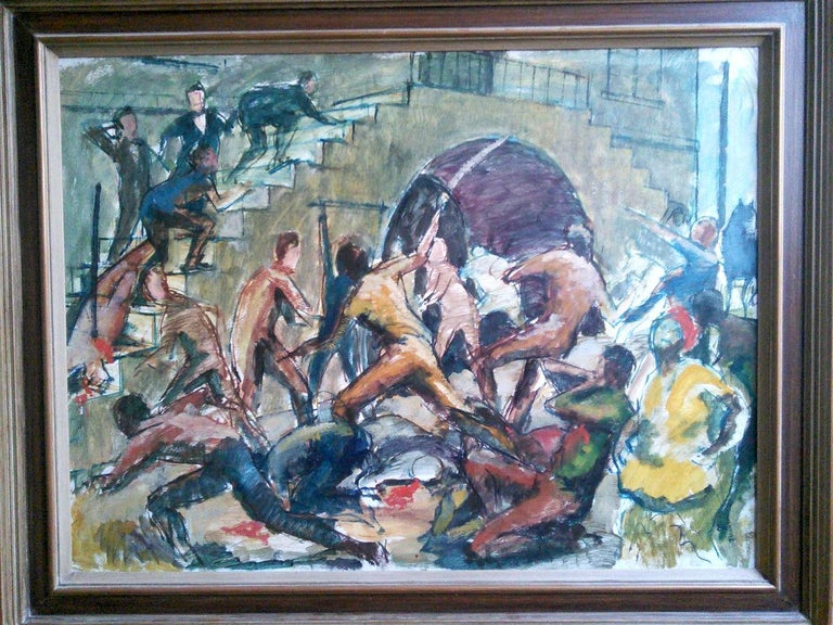 Huge and topical Black Lives Matter painting: Jamaica Morant Bay 1865 rebellion For Sale 2