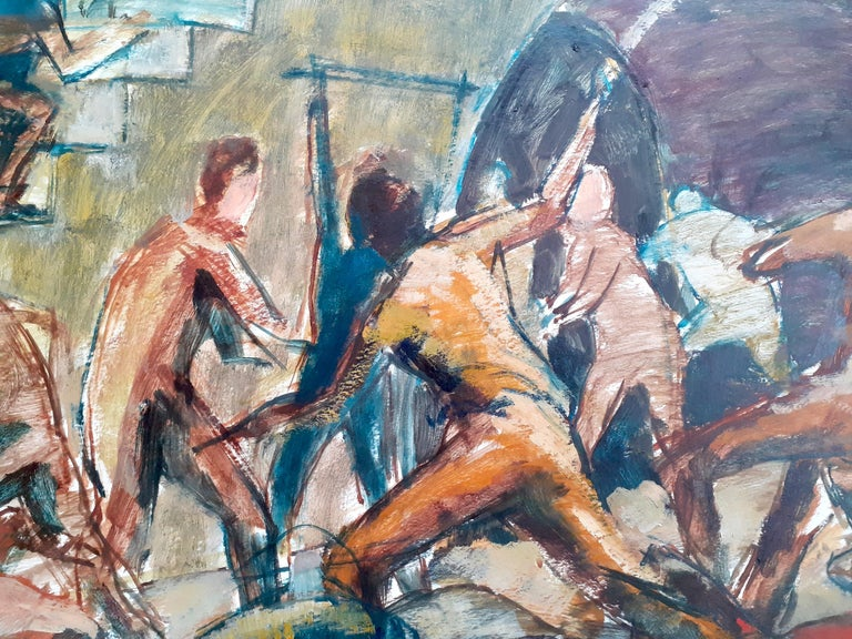 Uprising - a huge and  incredibly powerful and topical painting by Jamaican master painter Barrington Watson (1931-2016).  It depicts the 1865  Morant Bay rebellion, where Jamaicans were protesting injustice and widespread poverty. Most