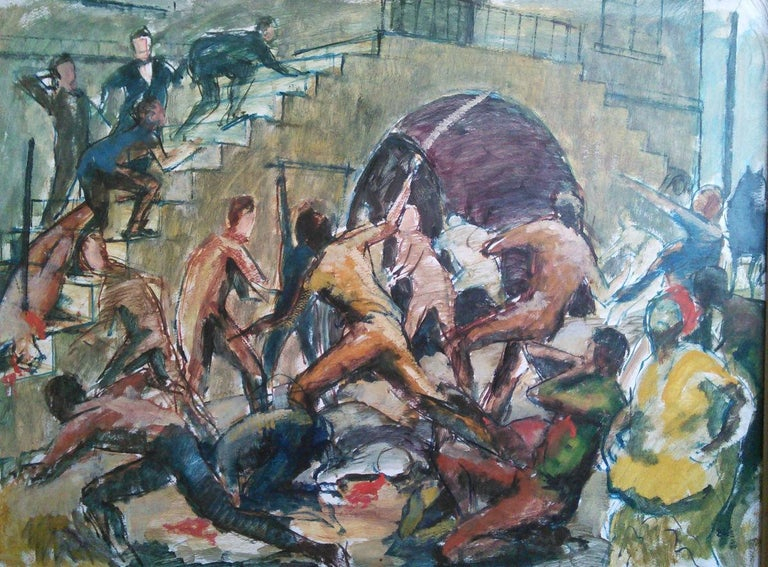 Huge and topical Black Lives Matter painting: Jamaica Morant Bay 1865 rebellion For Sale 1