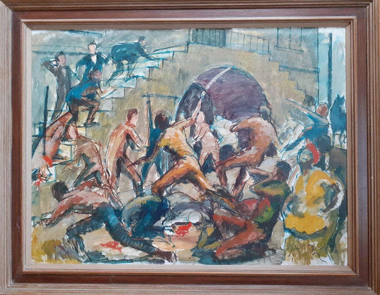 Barrington Watson Figurative Painting - Huge and topical Black Lives Matter painting: Jamaica Morant Bay 1865 rebellion