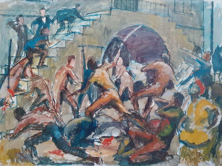 Huge and topical Black Lives Matter painting: Jamaica Morant Bay 1865 rebellion - Painting by Barrington Watson