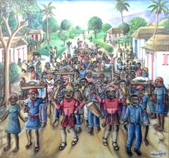 Large colourful Rara Vaudoo Parade by Haitian Master outsider painting Haiti