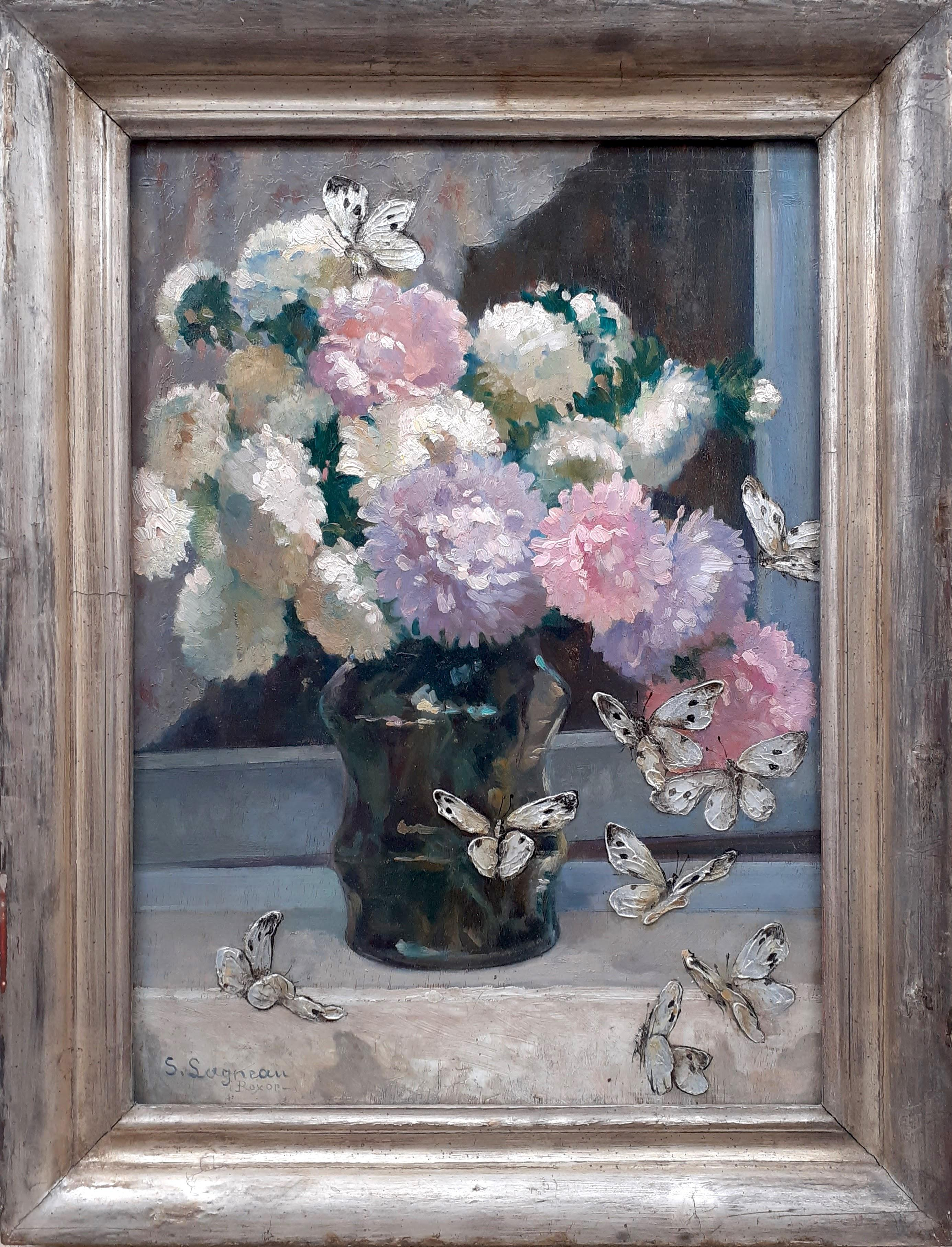 Flowers and Butterflies: French art nouveau floral still life oil painting