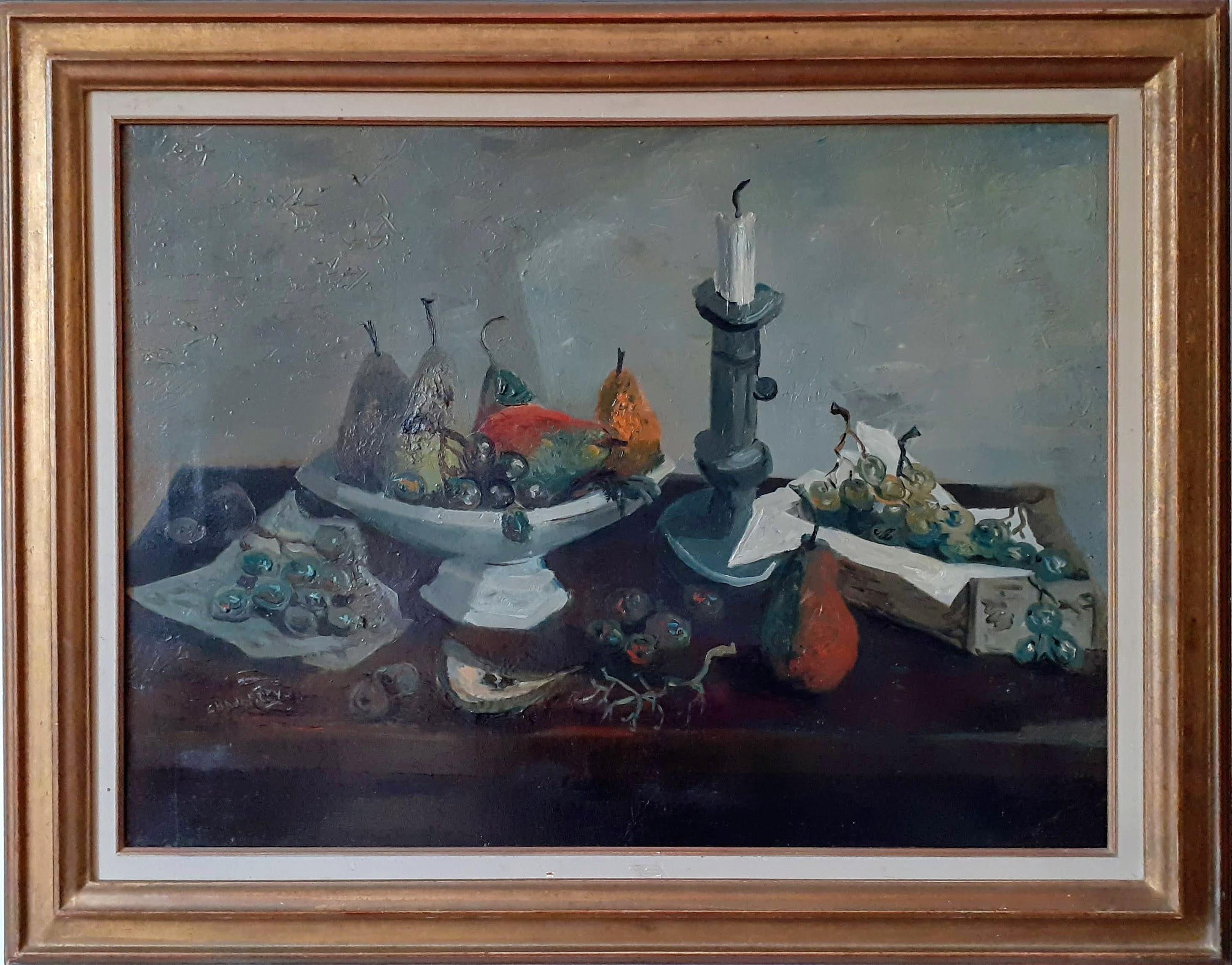 Pears and Grapes large Modernist mid century Still Life Interior painting
