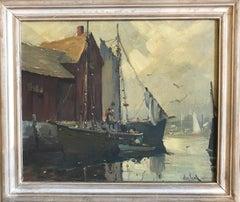 """Otis Pierce Cook Jr., """"Boats in Harbor, Massachusetts"""""""