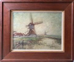Dutch Scene with Windmills