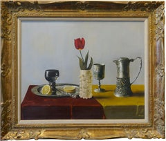 """Gregory Korga """"Large Still Life With Pewter and Rose"""""""