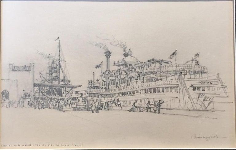 "Morris Henry Hobbs Landscape Art - Riverboat ""Capitol"", New Orleans, 1938"