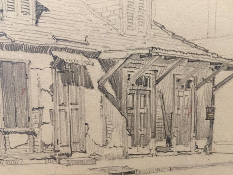 Morris Henry Hobbs (1892 - 1967) Lafitte's Blacksmith Shop, New Orleans Graphite on Paper, Float-Matted 9.5