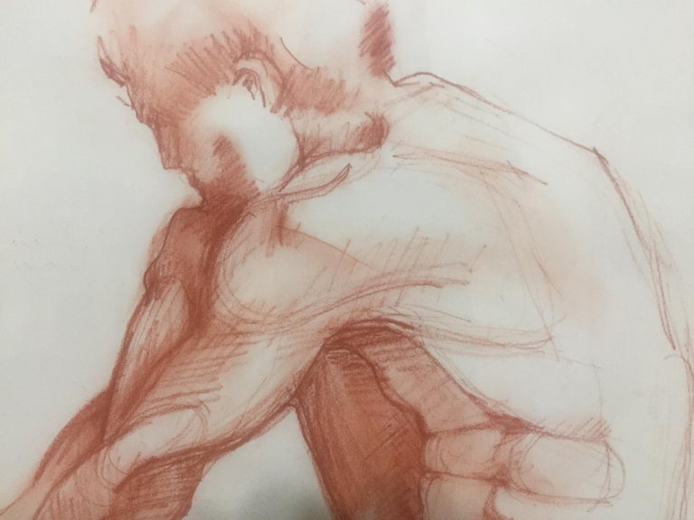Seated Male - Academic Art by Lue Isaac