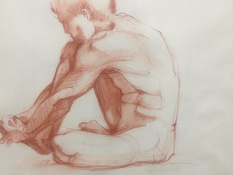 Seated Male - Beige Nude by Lue Isaac