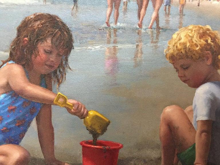 Gooch's Beach (Maine) - Realist Painting by Gretchen Huber