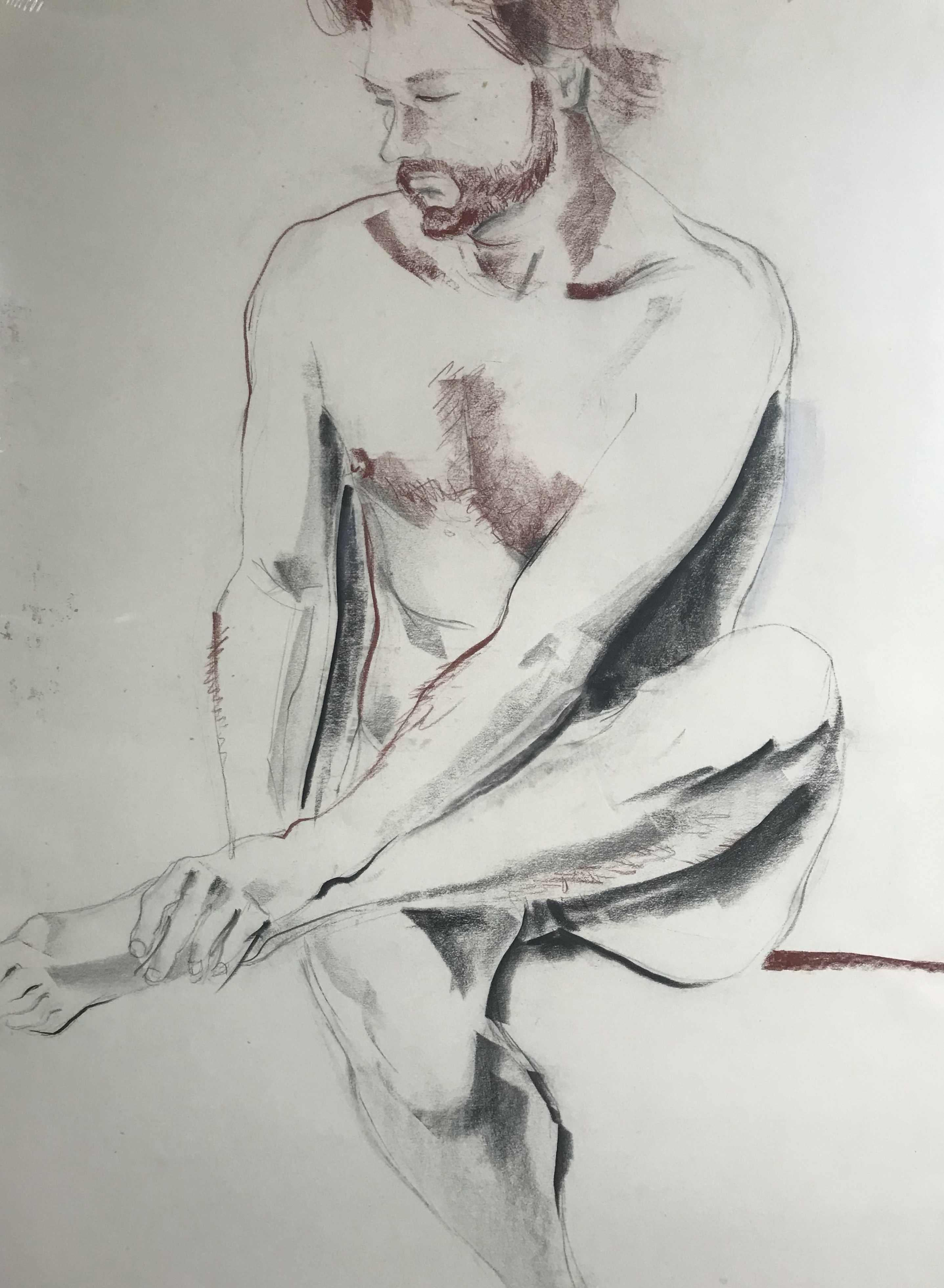 Large Seated Male Nude