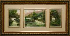 """Pescadores Triptico (Fishermen Triptych)"" by Salvador Caballero"