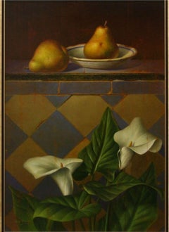 """Still Life with White Lilies and Two Pears"" by Leon Olmo 21 x 15 inches"