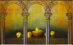 """""""Still Life with Architectural Columns and Pear"""" by Leon Olmo 31 x 52 inches"""
