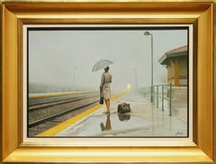"""""""The Coming Train"""" by Javier Pedrosa 15"""" x 22"""" Oil on Canvas"""