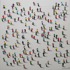 """Affinity"" Mixed Media on Canvas by Jose Ferrandiz 31 x 31 in"