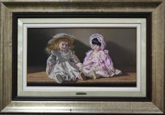"""""""Two Dolls"""" by Vincente Esparza 13"""" x 23"""" Oil on Board"""