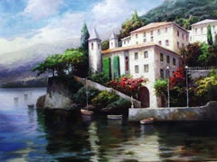 """Lake Como, Italy"" by David Kim 36 x 48 inches Oil on Canvas"