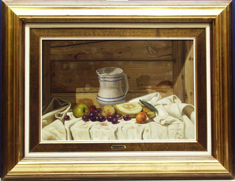 Item is in excellent condition and has only been displayed in a gallery setting. Item includes frame; framed dimensions are approximately 28 x 37 inches.  Vincente Esparza was born in Graus, Huesca in 1946.  In 1967 he began his studies at La