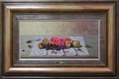 """Still Life with Melon"" by Vincente Esparza 11"" x 23"" Oil on Board"