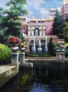 """""""Villa D'este Italy"""" by David Kim 40 x 30 inches Oil on Canvas"""