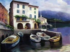 """""""Coastal Village with Boats"""" by David Kim 30 x 40 inches Oil on Canvas"""
