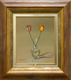 "Marisa Mallol ""Still Life with Red & Yellow Tulips"" 18"" x 15"" Oil on Canvas"
