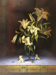 """""""Still Life with Vase of White Lilies"""" by Leon Olmo 31 x 23 inches Oil on Board"""