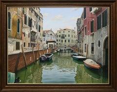 """Licio Passon """"Venice Canal"""" 47"""" x 63"""" Oil on Canvas"""