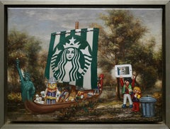 """""""Invasion Force"""" by Pat Hobaugh 12"""" x 16"""" Oil & Latex on Canvas"""