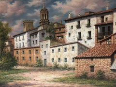 """""""My Town"""" by A. Huerta 19 x 25 inches Oil on Canvas"""