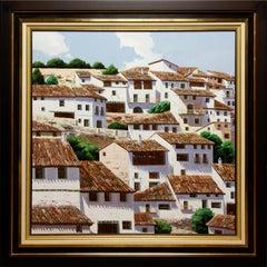 """Town"" by Fernando Alcaraz 45"" x 45"" Oil on Canvas"