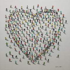 """Endearment"" Mixed Media on Canvas by Jose Ferrandiz 39 x 39 in"