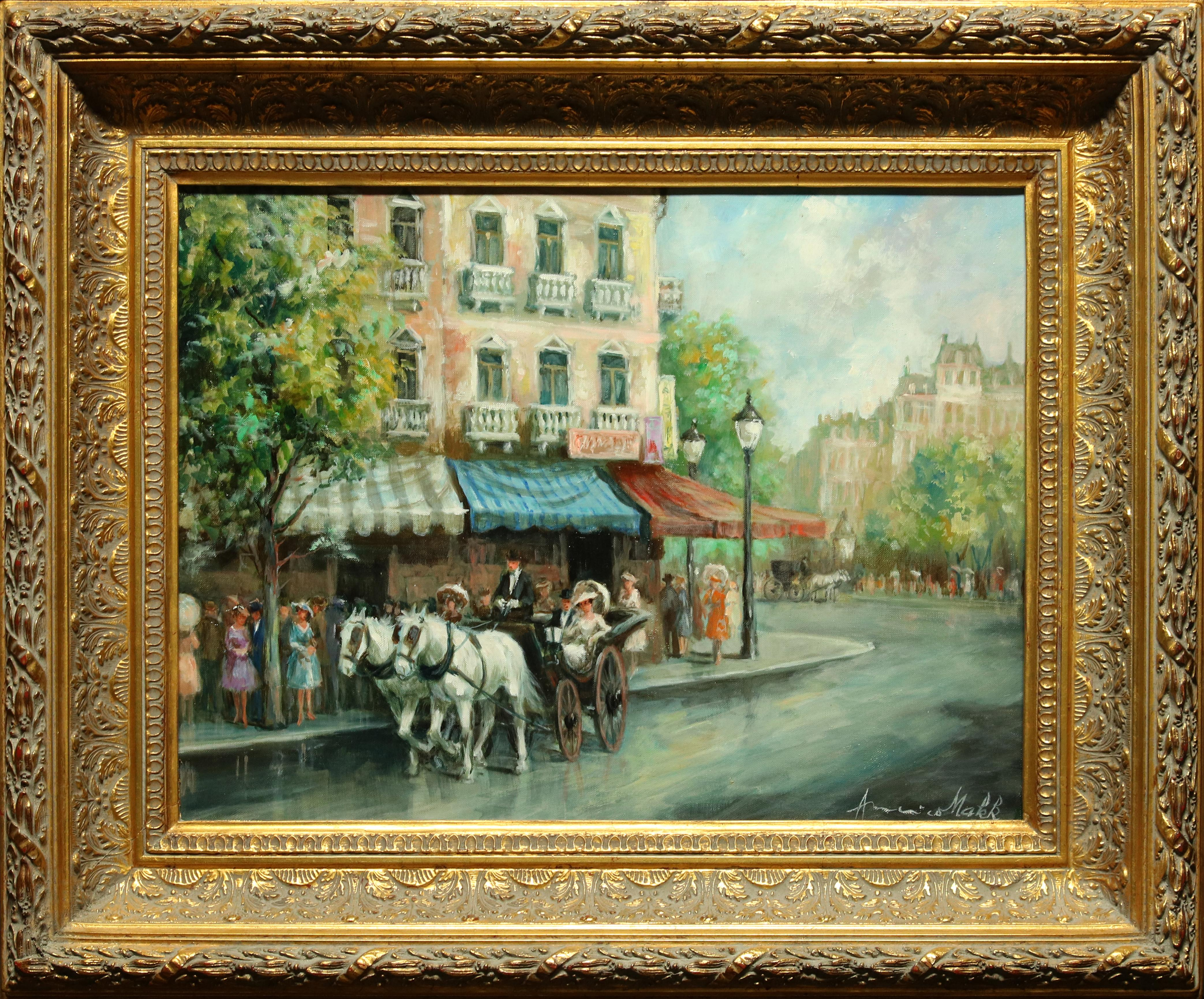 """""""Carriage Ride"""" by Americo Makk 24 x 18 inch oil on canvas"""