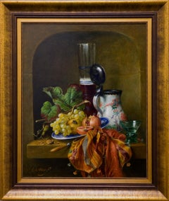 """Still Life"" by Cornelis Le Mair 31 x 26 inch Oil on Board"
