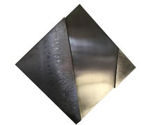 Inox Structure, Late 20th Century Abstract Stainless Steel Brass Wall Sculpture
