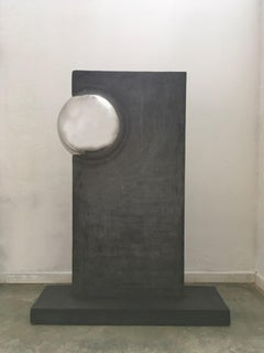 Stele with sphere Italy 2000 Polyester Grey Colored Mortar with Chrome Sphere