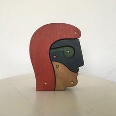 Head Multicolor Painted Okumè Wood on Black Base Abstract Figurative Sculpture